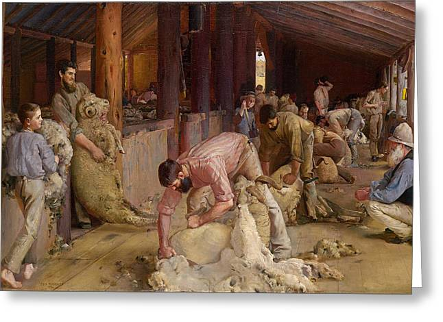 Shearing The Rams  Greeting Card by Tom Roberts