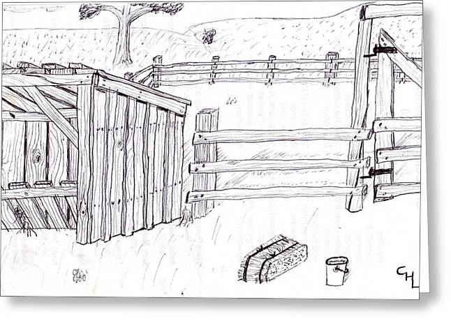Wood Grain Drawings Greeting Cards - Shed 1 Greeting Card by Clark Letellier