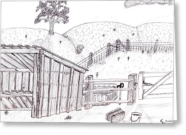 Bale Drawings Greeting Cards - Shed 2 Greeting Card by Clark Letellier