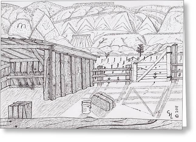 Bale Drawings Greeting Cards - Shed 3 Greeting Card by Clark Letellier