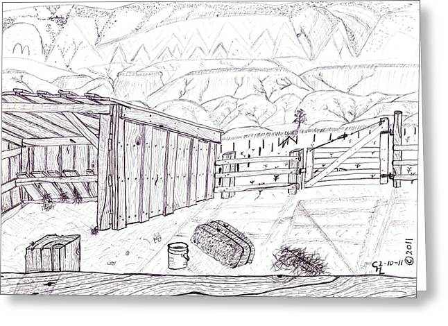 Wood Grain Drawings Greeting Cards - Shed 4 Greeting Card by Clark Letellier
