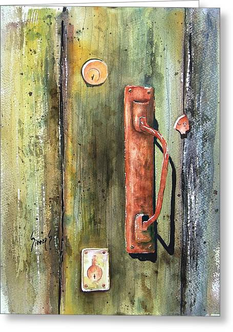 Rustic Greeting Cards - Shed Door Greeting Card by Sam Sidders