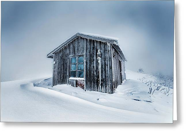 Mazalat Hut Greeting Cards - Shed In the Blizzard Greeting Card by Evgeni Dinev