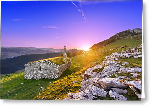 Mountain Cabin Greeting Cards - shed in Urkiola mountains at sunrise with sun rays Greeting Card by Mikel Martinez de Osaba