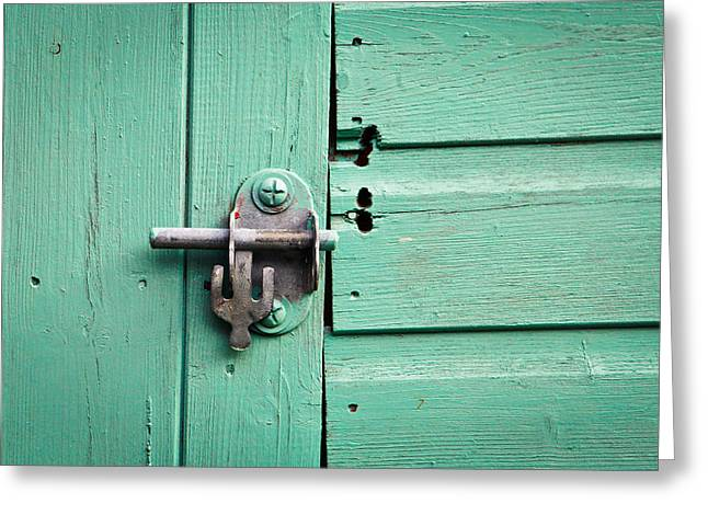 Shack Greeting Cards - Shed lock Greeting Card by Tom Gowanlock