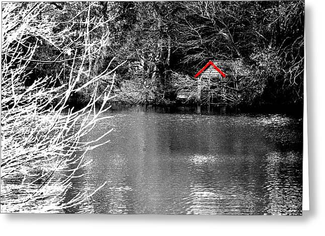 Shed On The Lake Greeting Card by Christopher Rowlands