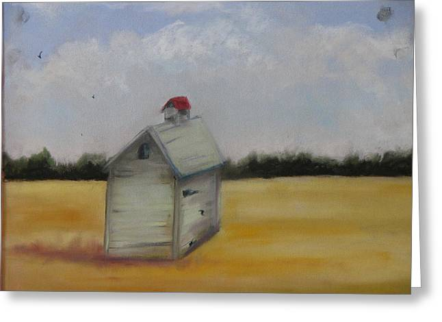 Sheds Pastels Greeting Cards - Shed on Yellow Field Greeting Card by Iris Nazario Dziadul
