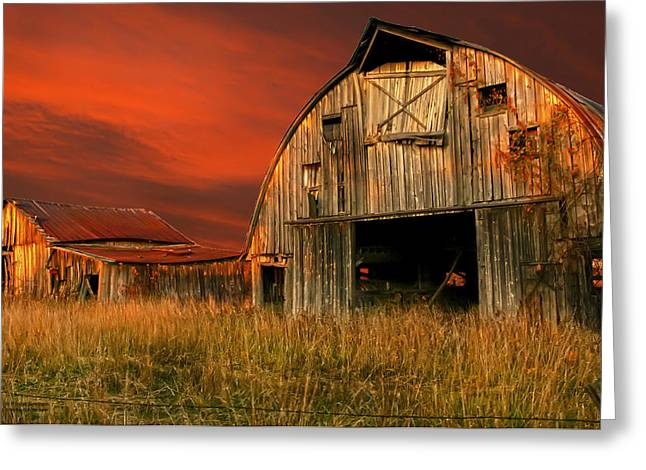 Hayloft Greeting Cards - SHED Some Light On the BARN Greeting Card by Randall Branham