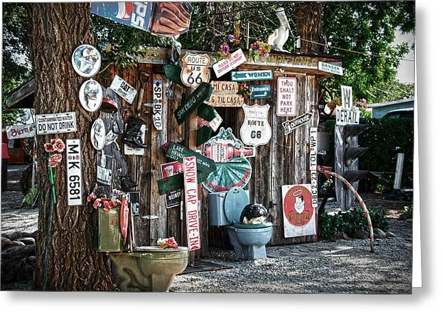 Sheds Greeting Cards - Shed toilet bowls and plaques in Seligman Greeting Card by RicardMN Photography