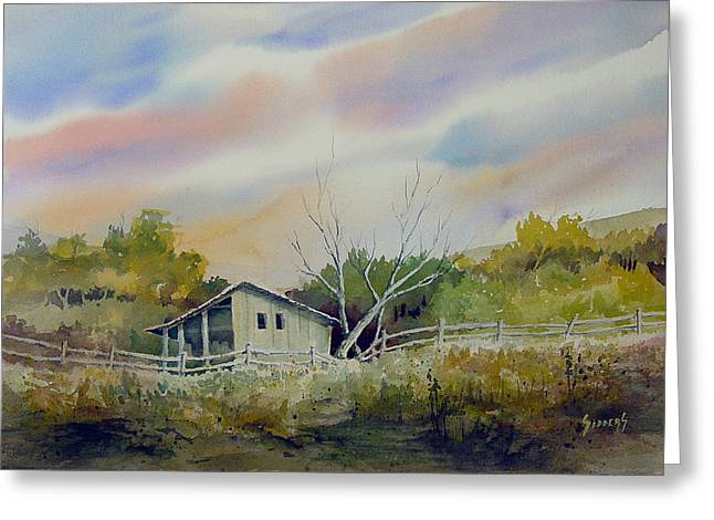 Sheds Greeting Cards - Shed With A Rail Fence Greeting Card by Sam Sidders