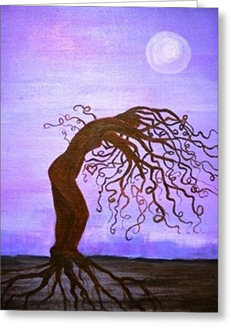 Tree Roots Paintings Greeting Cards - Shee Tree #2 Greeting Card by Lisa Kaye