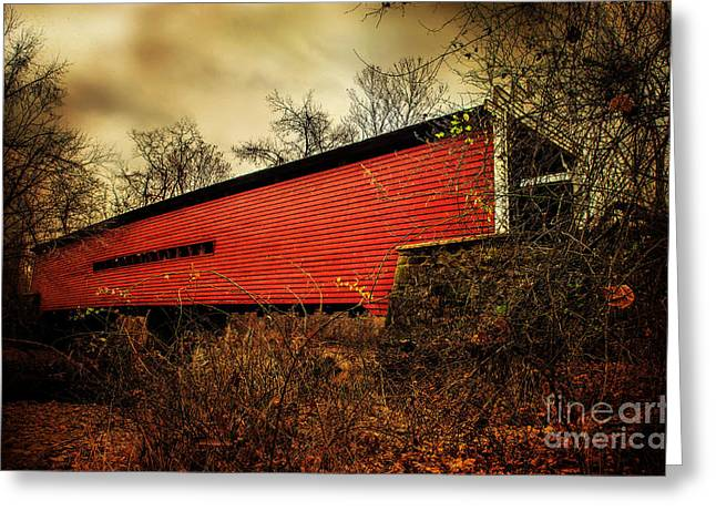 Covered Bridge Greeting Cards - Sheeder Hall Covered Bridge 2 Greeting Card by Judy Wolinsky