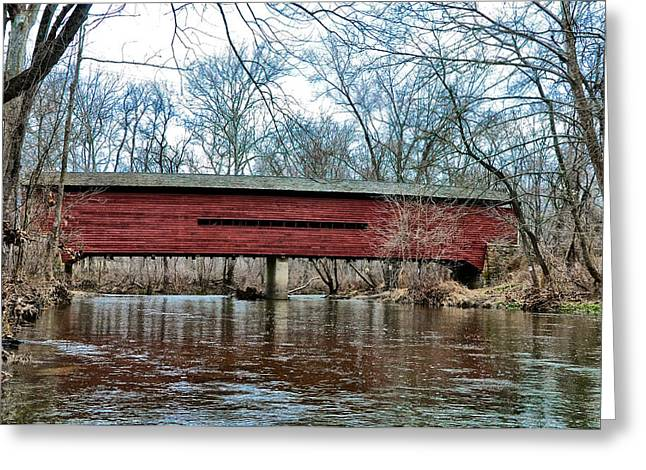 Sheeder - Hall - Covered Bridge Chester County Pa Greeting Card by Bill Cannon