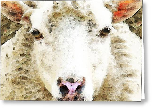 Sheep Greeting Cards - Sheep Art - White Sheep Greeting Card by Sharon Cummings