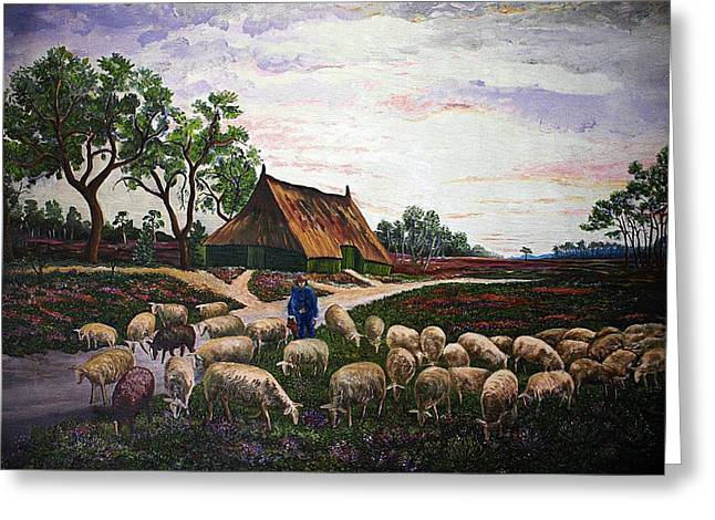Dutch Shepherd Greeting Cards - Sheep at daybreak Greeting Card by Andries Hartholt