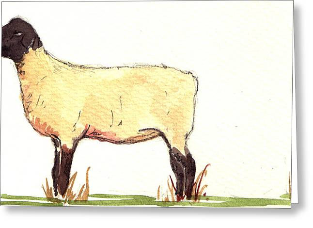 White Farm Greeting Cards - Sheep black white Greeting Card by Juan  Bosco