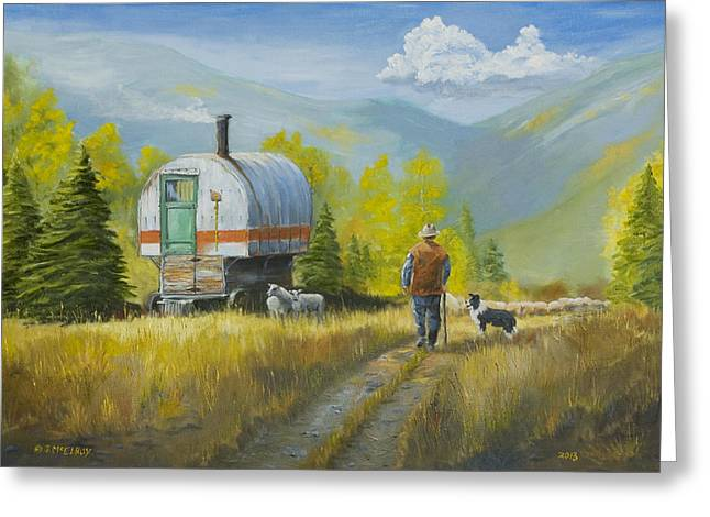 Herder Greeting Cards - Sheep Camp Greeting Card by Jerry McElroy