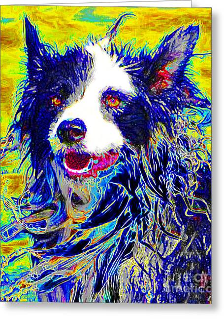 Puppies Digital Art Greeting Cards - Sheep Dog 20130125v1 Greeting Card by Wingsdomain Art and Photography