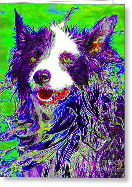 Puppies Digital Art Greeting Cards - Sheep Dog 20130125v4 Greeting Card by Wingsdomain Art and Photography