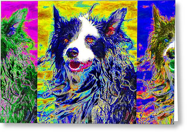 Puppies Digital Greeting Cards - Sheep Dog Three 20130125 Greeting Card by Wingsdomain Art and Photography
