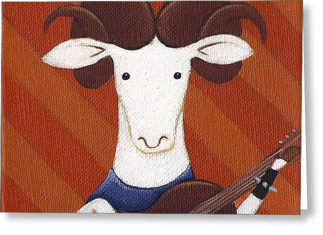 Sheep Guitar Greeting Card by Christy Beckwith