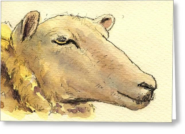 Sheep Paintings Greeting Cards - Sheep head study Greeting Card by Juan  Bosco