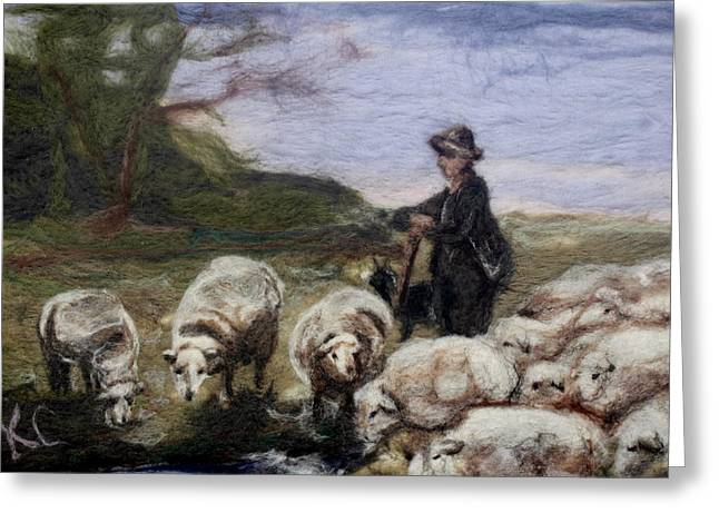 Primitive Tapestries - Textiles Greeting Cards - Sheep Herder Greeting Card by Kyla Corbett