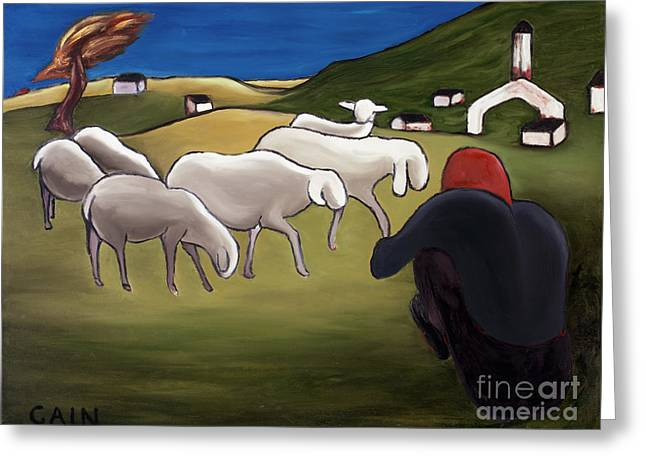 William Cain Greeting Cards - Sheep Herder  Greeting Card by William Cain