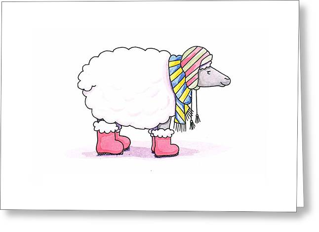 Striped Drawings Greeting Cards - Sheep in a Scarf Greeting Card by Christy Beckwith