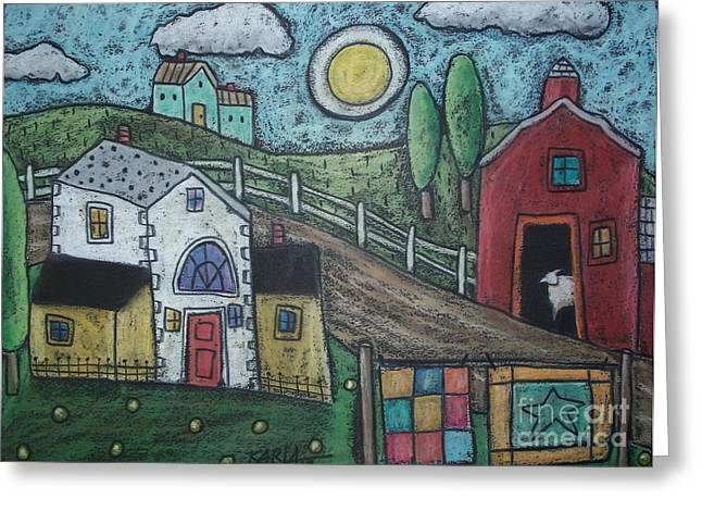 Art Quilt Greeting Cards - Sheep In Barn Greeting Card by Karla Gerard