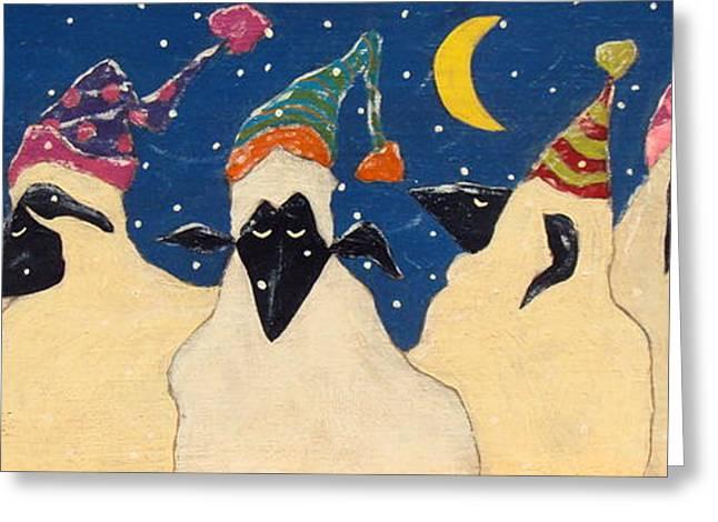 Tobogganing Greeting Cards - Sheep in Hats Greeting Card by John Blake