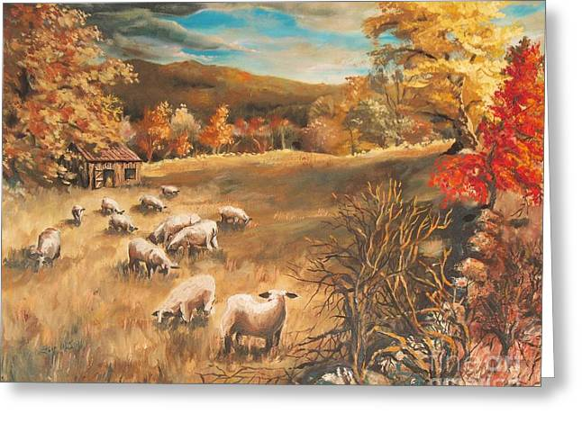 Shed Paintings Greeting Cards - Sheep in Octobers field Greeting Card by Joy Nichols