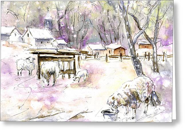 Trees In Snow Drawings Greeting Cards - Sheep In Snow In Germany Greeting Card by Miki De Goodaboom