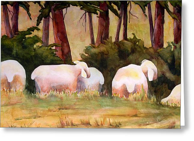 Warm Tones Greeting Cards - Sheep in the Meadow Greeting Card by Blenda Studio