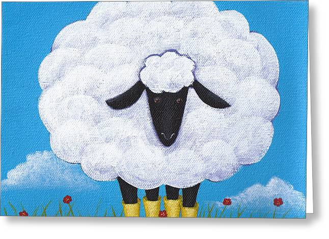 White Farm Greeting Cards - Sheep Nursery Art Greeting Card by Christy Beckwith