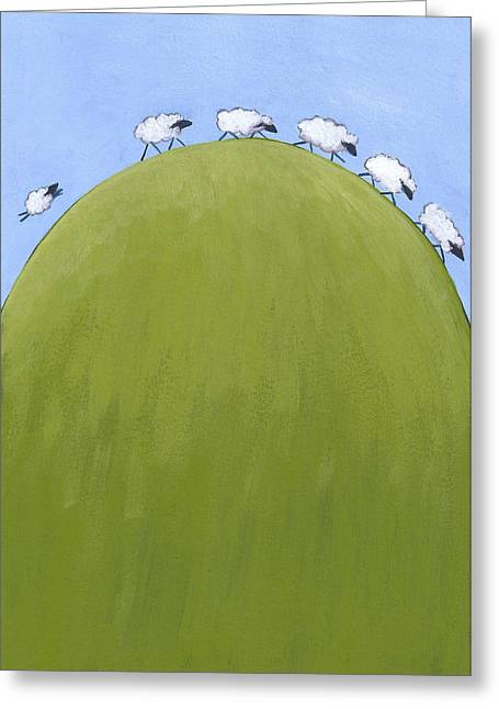 Nursery Decor Greeting Cards - Whimsical Sheep Art Greeting Card by Christy Beckwith