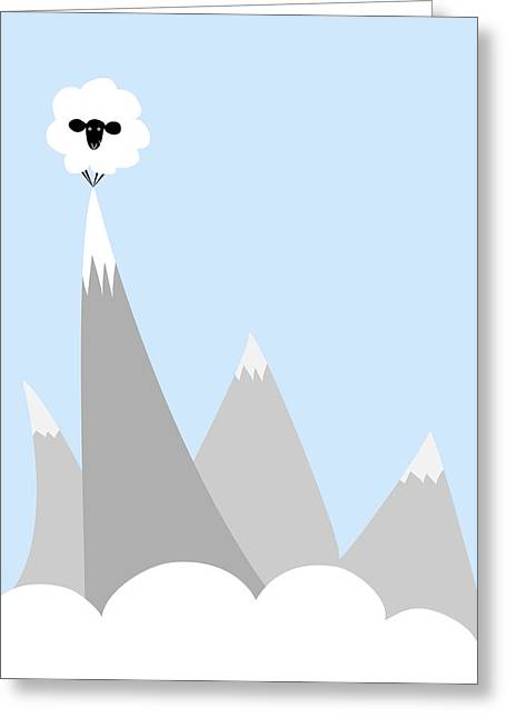 Grey Clouds Digital Art Greeting Cards - Sheep On Top of a Mountain Greeting Card by Christy Beckwith