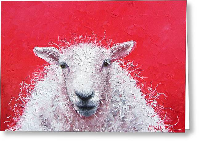 For The Kids Greeting Cards - Sheep Painting Victor Greeting Card by Jan Matson