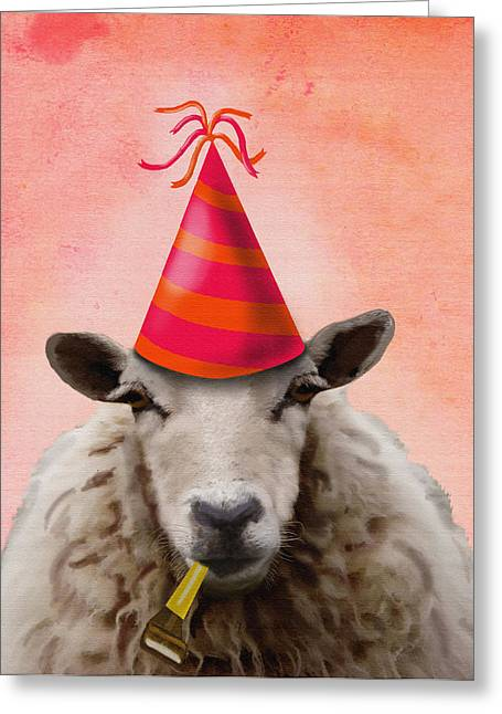 Party Hat Prints Greeting Cards - Sheep Party Sheep Greeting Card by Kelly McLaughlan