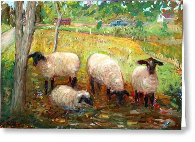 Vermont Rooster Greeting Cards - Sheep Greeting Card by Paul Emory