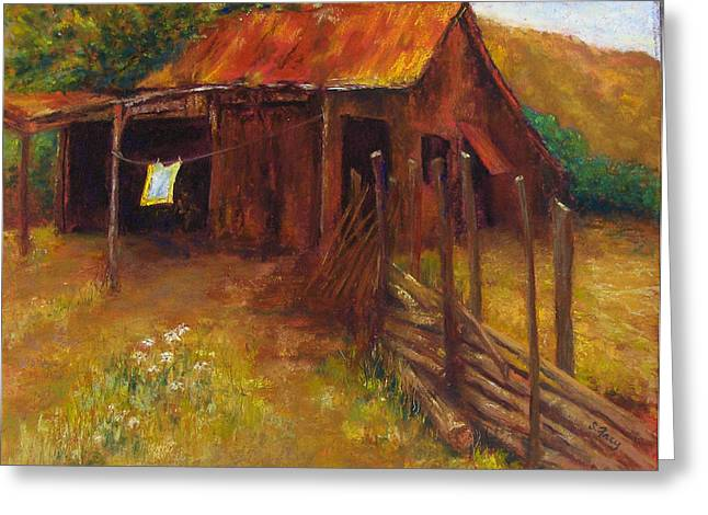 Sheds Pastels Greeting Cards - Sheep Shed Greeting Card by Sharon Frey