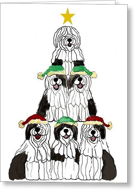 Oes Greeting Cards - Sheepdog Christmas Tree Greeting Card by Cathy Howard