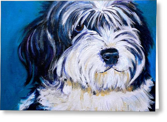 Puppies Paintings Greeting Cards - Sheepish Greeting Card by Debi Starr