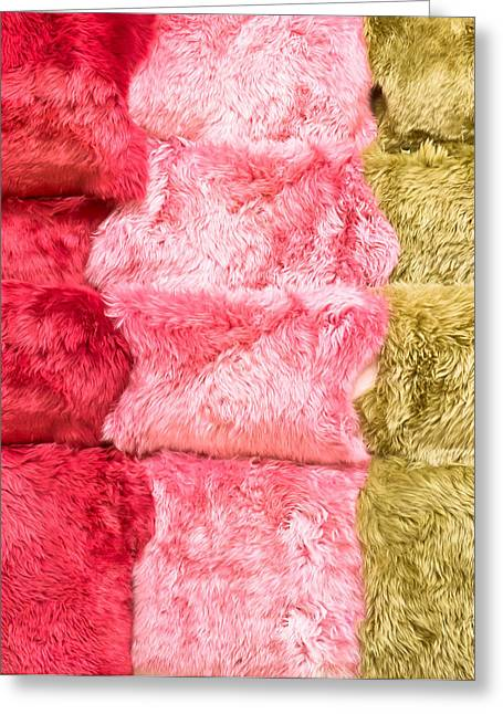Abstract Animal Greeting Cards - Sheepskin rugs Greeting Card by Tom Gowanlock