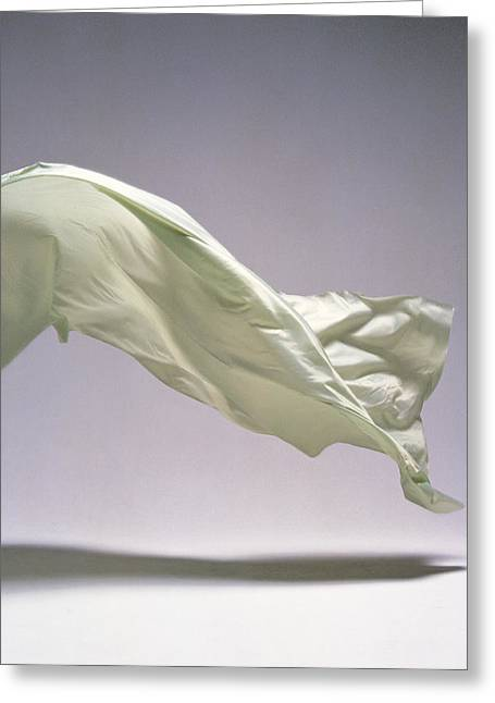 White Cloth Greeting Cards - Sheet Floating, Studio Shot Greeting Card by Panoramic Images