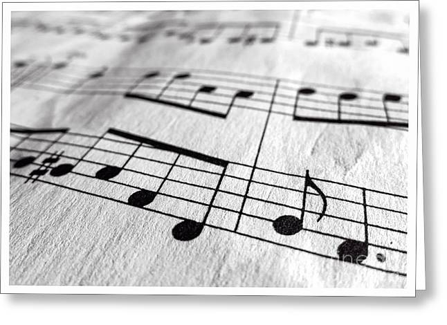 Note Greeting Cards - Sheet Music Closeup Greeting Card by Edward Fielding