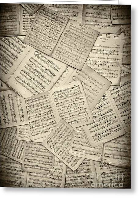 Tattered Greeting Cards - Sheet Music Greeting Card by Tim Gainey
