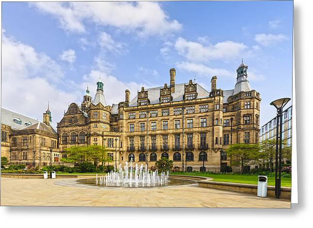 Litter Greeting Cards - Sheffield Town Hall and Fountain Greeting Card by Colin and Linda McKie