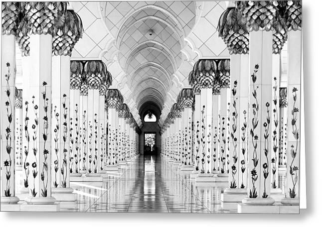 Sheik Zayed Mosque Greeting Card by Hans-wolfgang Hawerkamp