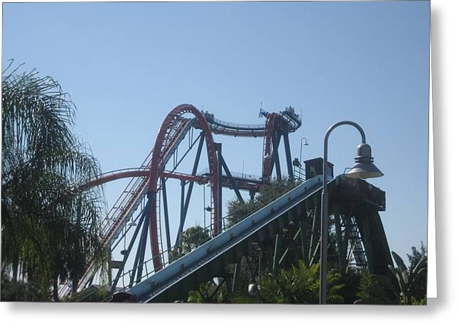 Rollercoaster Greeting Cards - Sheikra Roller Coaster - Busch Gardens Tampa - 01131 Greeting Card by DC Photographer
